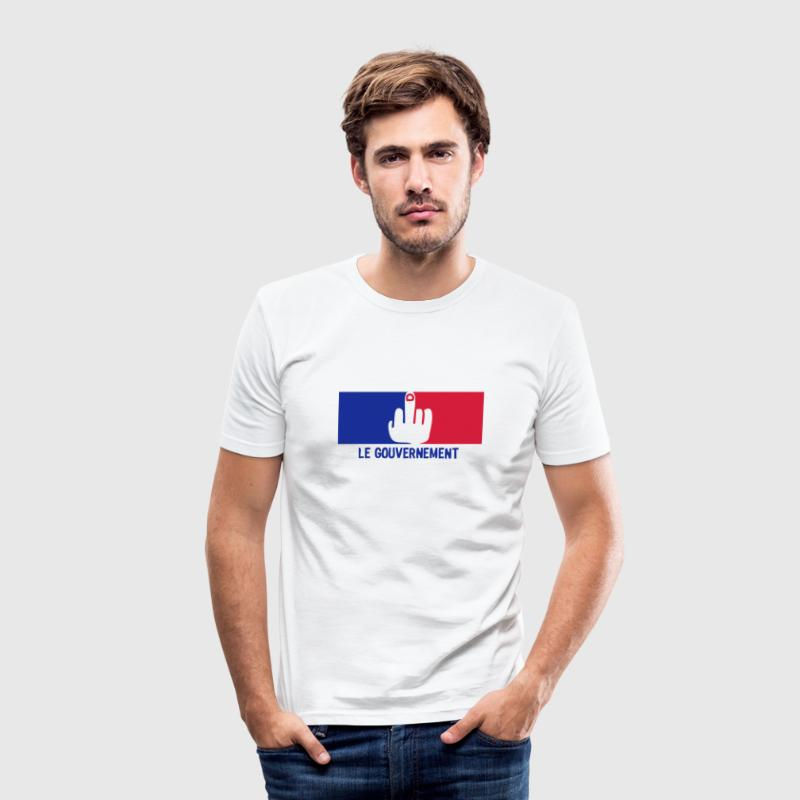 fuck gouvernement francais drapeau - Men's Slim Fit T-Shirt