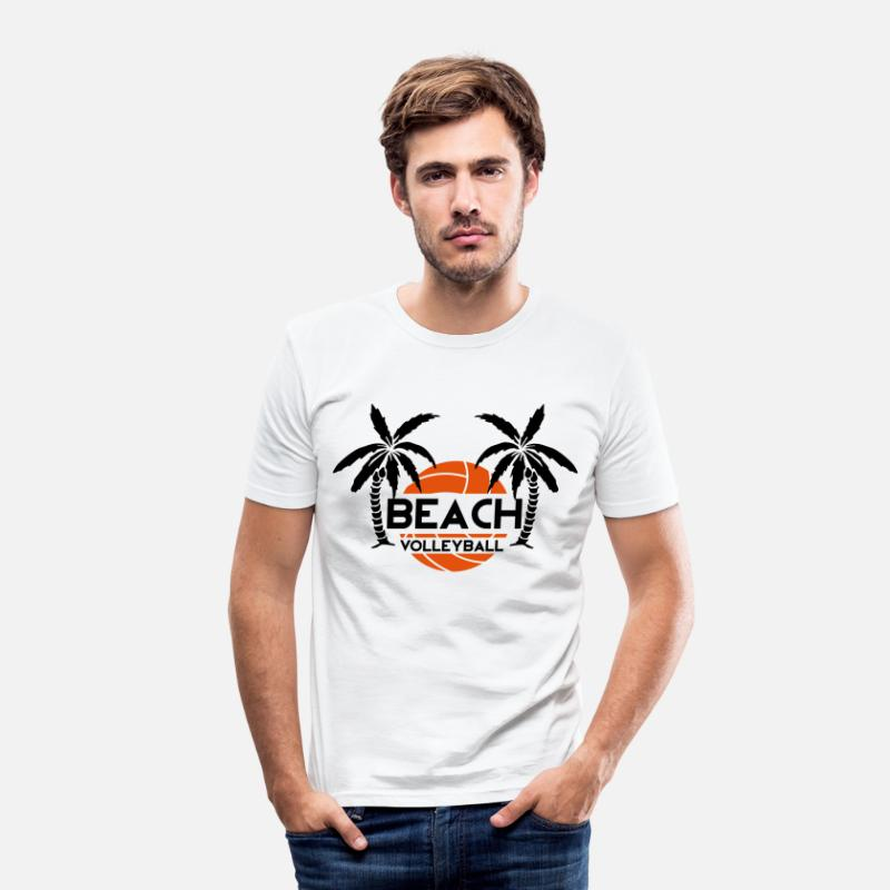 Beach Volley T-shirts - Beach Volleyball - T-shirt moulant Homme blanc