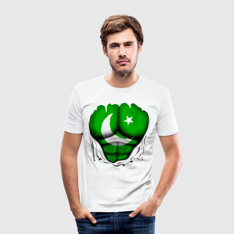 Pakistan Flag Ripped Muscles, six pack, chest t-shirt - Men's Slim Fit T-Shirt
