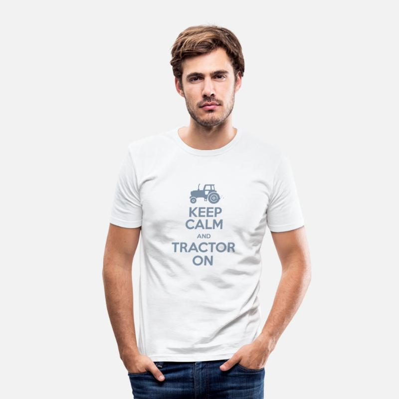 Tractor T-Shirts - Keep Calm & Tractor On - Farming theme - Men's Slim Fit T-Shirt white