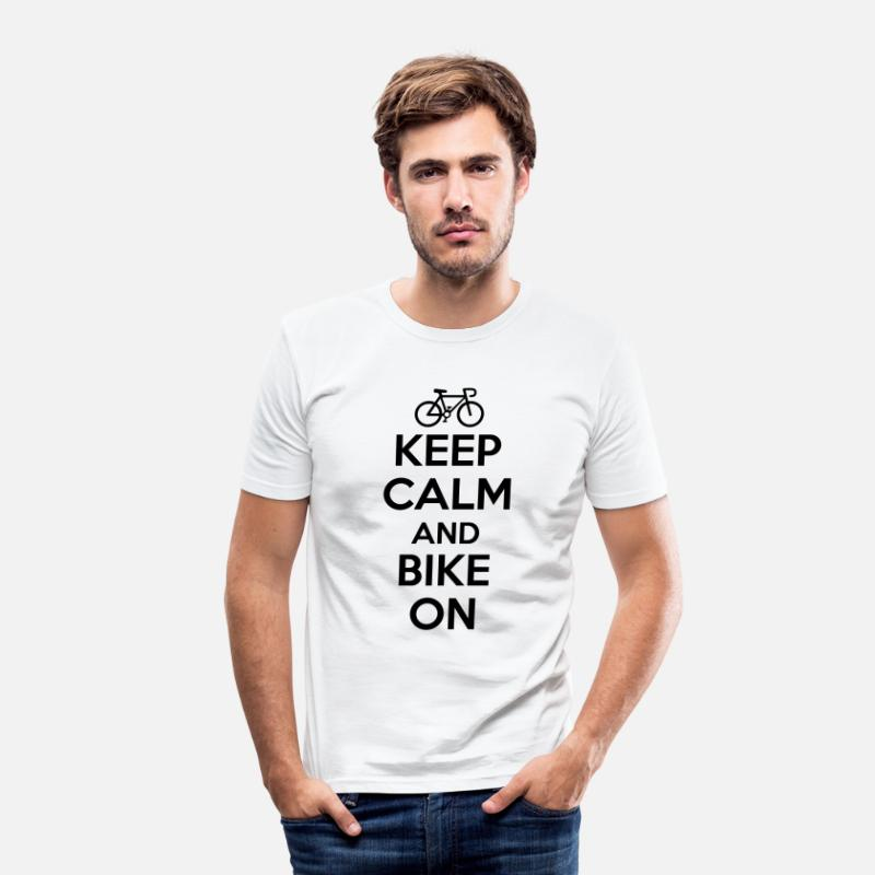 Keep Calm T-Shirts - Keep calm and bike on - Mannen slim fit T-shirt wit