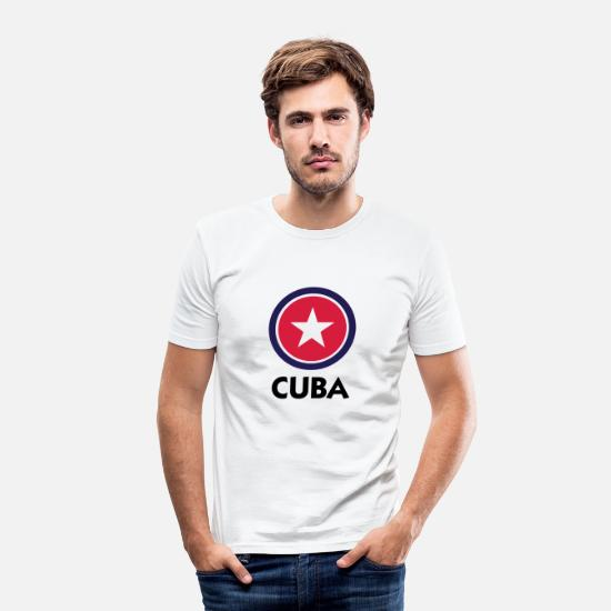 Caribbean T-Shirts - A star for Cuba - Men's Slim Fit T-Shirt white