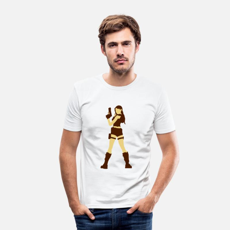Silhouette T-Shirts - A sexy grave hunter with two guns - Men's Slim Fit T-Shirt white