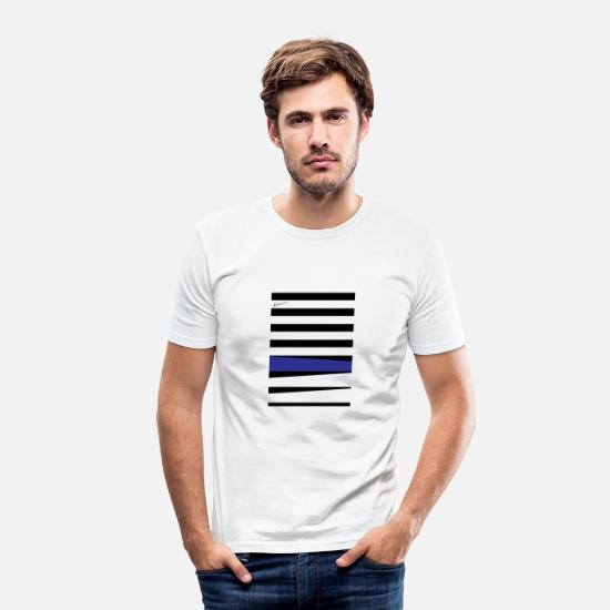 Géométrie T-shirts - Royal Blue Stripes - T-shirt moulant Homme blanc