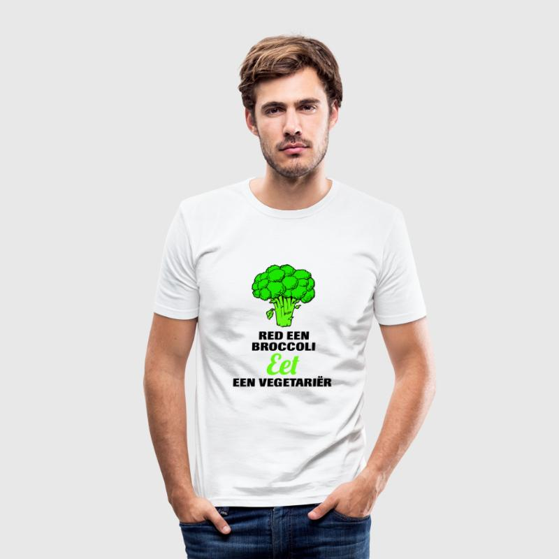 Red een broccoli, eet een vegetariër! - slim fit T-shirt