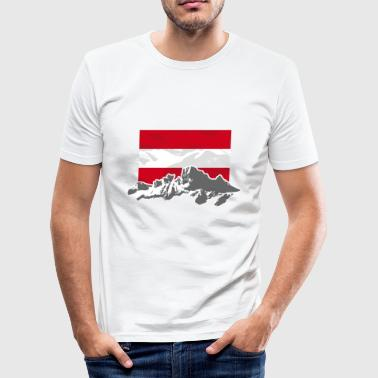 Austria Austria - Mountains & Flag - Männer Slim Fit T-Shirt