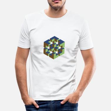 M C Escher impossible figure cube Würfel Geek Geometrie Nerd - Männer Slim Fit T-Shirt