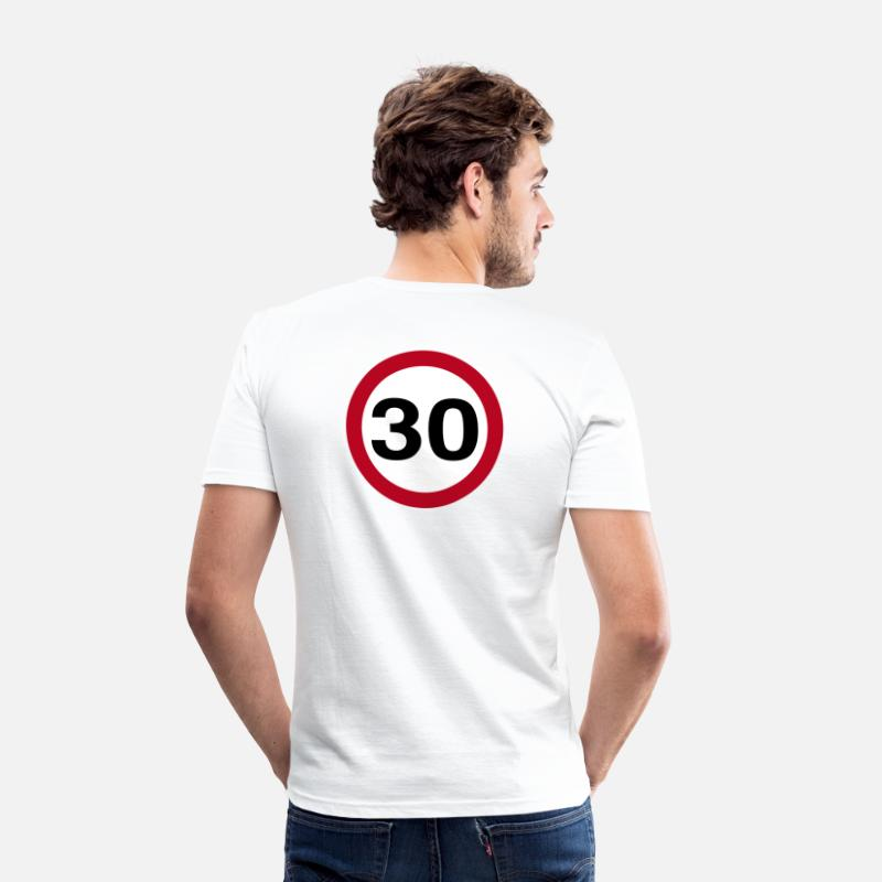 Car T-Shirts - 30mph - Vector - Men's Slim Fit T-Shirt white