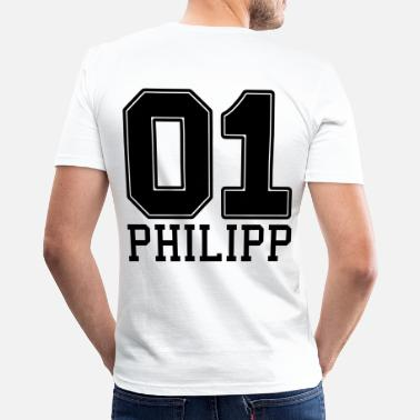 Ziffer 01 Philipp Name Vorname - Männer Slim Fit T-Shirt