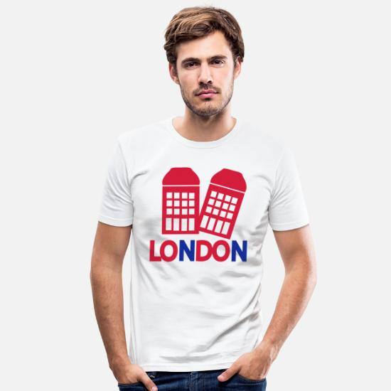Symbol  T-Shirts - LONDON red Phone booth - Men's Slim Fit T-Shirt white
