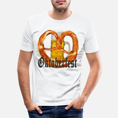Dirndl Oktoberfest beer and pretzel - Men's Slim Fit T-Shirt