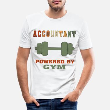 Funny Statistician Quote Funny Accountant Powered by Gym T-shirt for CPA - Men's Slim Fit T-Shirt