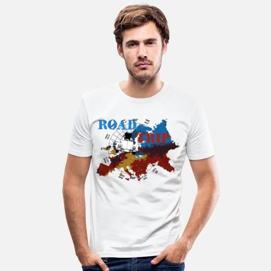 Auto T-Shirts - ROAD-TRIP - Männer Slim Fit T-Shirt Weiß