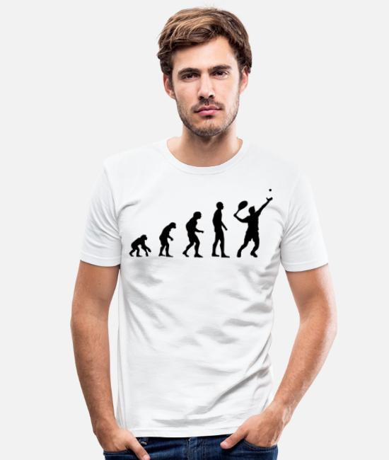 Tennis T-shirts - Tennislärare Tennis Evolution Saying Gift - T-shirt slim fit herr vit