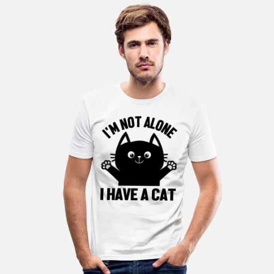 Animal Lover T-Shirts - For the single with cat - Men's Slim Fit T-Shirt white