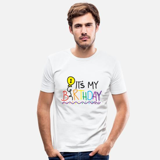 Birthday T-Shirts - 1st Birthday Happy Birthday Pie Shirt Gift - Men's Slim Fit T-Shirt white