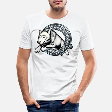 Silver Leaping Wolf - Men's Slim Fit T-Shirt