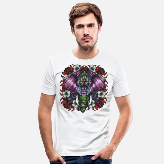 Mythical Collection V2 T-Shirts - Elephant Red - Men's Slim Fit T-Shirt white