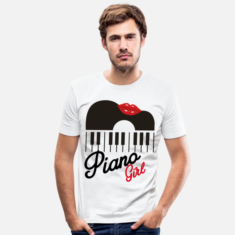 I Love Vinyl T-Shirts - kiss me piano girl - Men's Slim Fit T-Shirt white