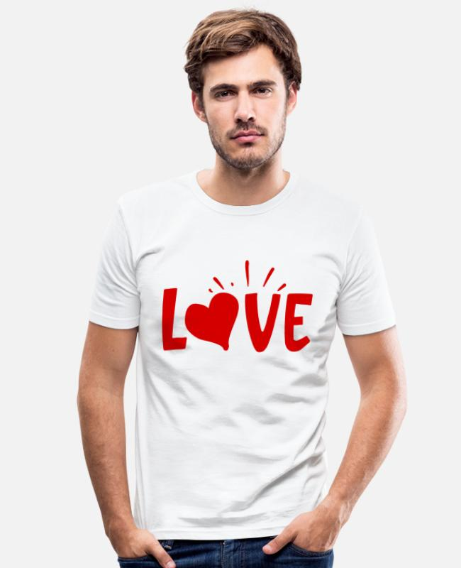 Gift T-shirts - Love - Mannen slim fit T-shirt wit
