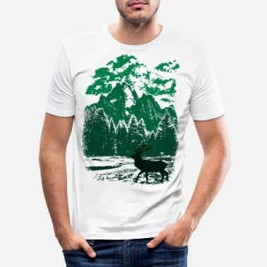 Forest Mountain forest and red deer (green) - Men's Slim Fit T-Shirt