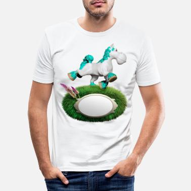 Cyan Pony cyan - Männer Slim Fit T-Shirt