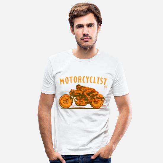 Motorcycle T-Shirts - motorcyclist shirt - Men's Slim Fit T-Shirt white