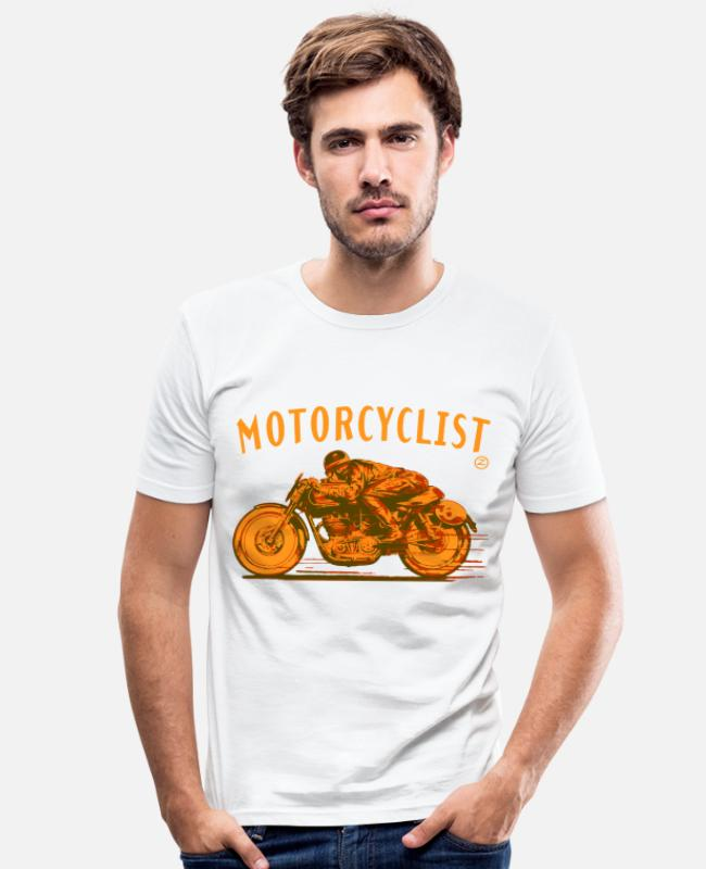 Speed T-Shirts - motorcyclist shirt - Men's Slim Fit T-Shirt white