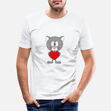 Cupid Funny cat - heart - love - love - animal - fun - Men's Slim Fit T-Shirt