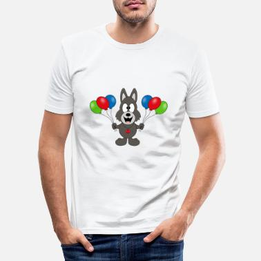 Mode Wolf - birthday - balloons - party - celebration - Men's Slim Fit T-Shirt