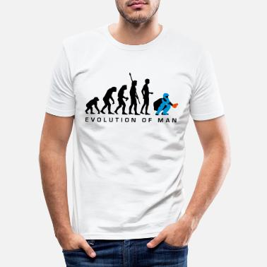 Man evolution_baseball_catcher_b_3c - Men's Slim Fit T-Shirt