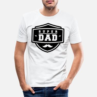 Eroe Father's Day Super Daddy Daddy Beard Black Cool - Maglietta aderente da uomo