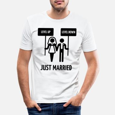 Couple Just Married – Level Up, Level Down, Gamer Wedding - Men's Slim Fit T-Shirt