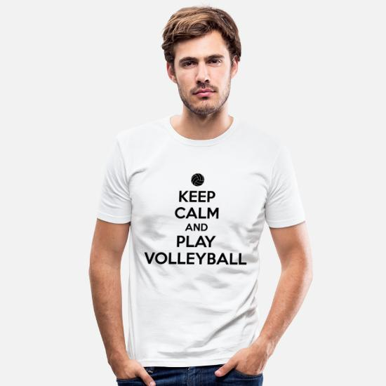 Volley Magliette - Keep calm and play volleyball - Maglietta slim fit uomo bianco