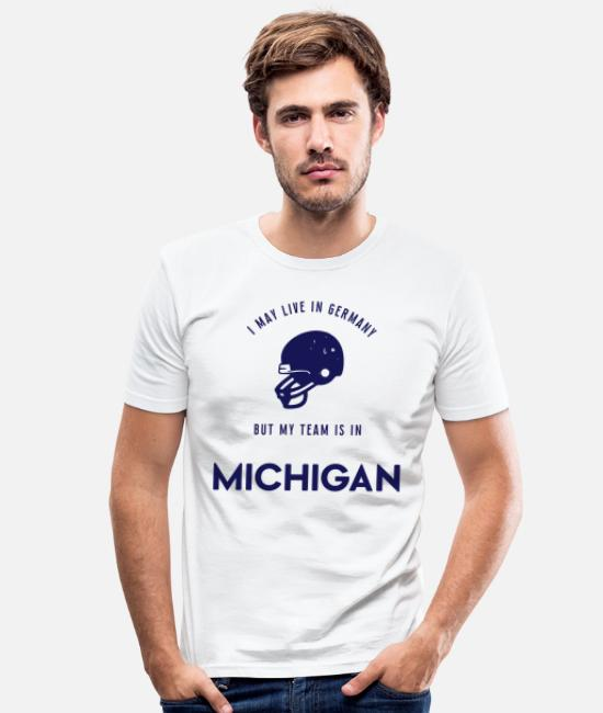 Usa T-Shirts - Michigan - Männer Slim Fit T-Shirt Weiß