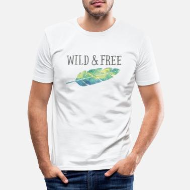 Ethno Wild & Free (Watercolor Feather) - Männer Slim Fit T-Shirt