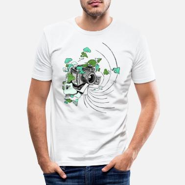 Camera with splashes of color [green] - Men's Slim Fit T-Shirt