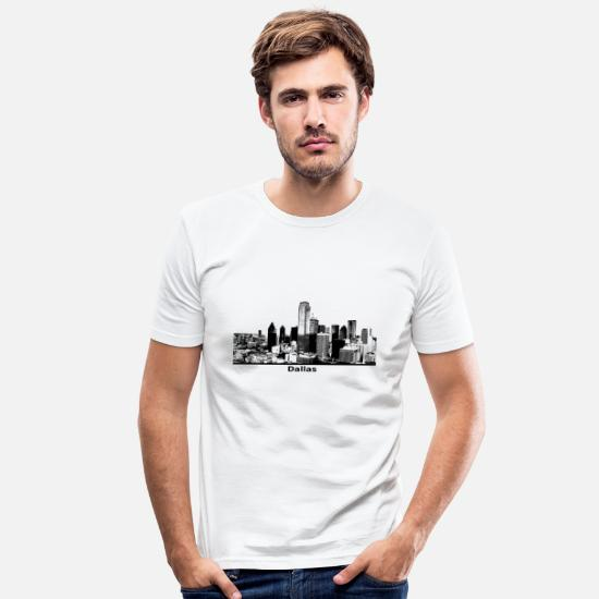 Usa T-Shirts - Dallas skyline gift panorama - Men's Slim Fit T-Shirt white