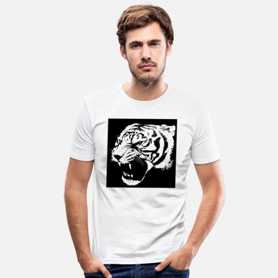 Big T-Shirts - Wild cat black and withe - Männer Slim Fit T-Shirt Weiß