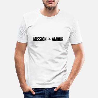 Cupido mission love couple gift romantic message - Men's Slim Fit T-Shirt