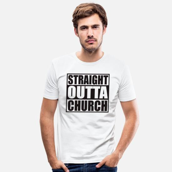 Pope T-Shirts - STRAIGHT OUTTA CHURCH - Men's Slim Fit T-Shirt white