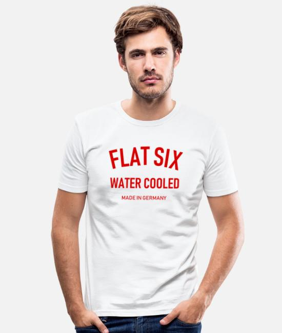 Vehicle T-Shirts - Flat Six - Water Cooled - Made in Germany - Boxer - Men's Slim Fit T-Shirt white