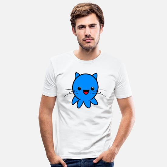 Kawaii T-Shirts - Catkraki - Men's Slim Fit T-Shirt white