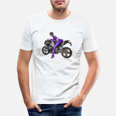Pose Biker girl, sexy woman with motorcycle - Men's Slim Fit T-Shirt