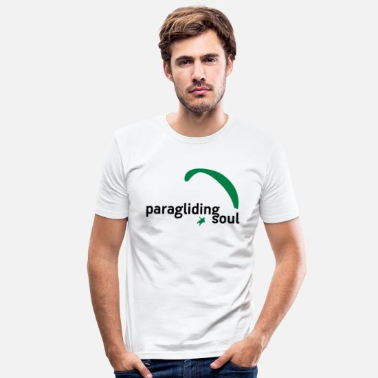 Skies T-Shirts - paragliding soul - Men's Slim Fit T-Shirt white