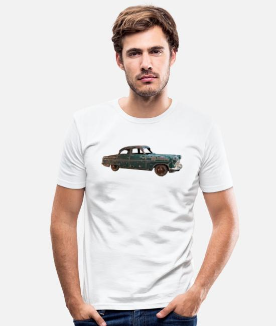 Car Enthusiast T-Shirts - Vintage classic green car - Men's Slim Fit T-Shirt white