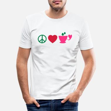 I Love Coffee Cool Coffee Addiction Design For Fabulous Coffee Lover Clothing And ☮♥☕Peace-Love-Coffee/Tea-The 3 Great Essentials☕♥☮ - Men's Slim Fit T-Shirt