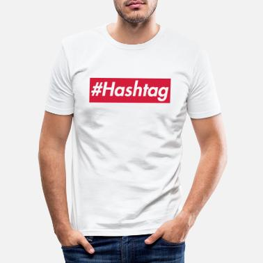 Rectangle #Hashtag -Sup reme design, police blanche, boîte rouge - T-shirt moulant Homme
