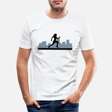 Loopster loopster, lopen - woman running, city run - Mannen slim fit T-shirt