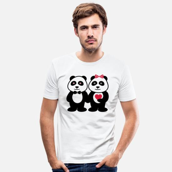 Love T-Shirts - COUPLES PANDA - Men's Slim Fit T-Shirt white